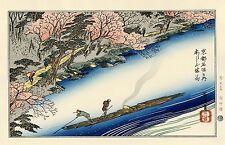 """Véritable Estampe Japonaise De Hiroshige """"Cerisiers En Pleine Floraison..."""""""