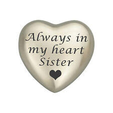 Always In My Heart Sister Silver Heart Urn Keepsake for Ashes Cremation