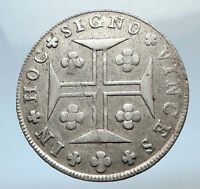 1812 PORTUGAL Silver 400 REIS Cross Coat of Arms Vintage Portuguese Coin i73746