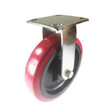 "8"" x 2"" Stainless Steel  Heavy Duty ""Polyurethane Wheel"" Caster - Rigid"