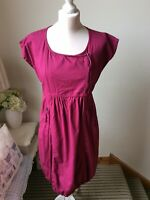 THE MASAI CLOTHING COMPANY Plum Deep Pink Cotton Lagenlook Dress Size Small