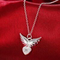 silberne kette weihnachten anhänger halskette engel flügel crystal liebe herz