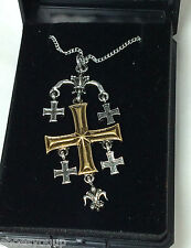 Masonic Knights Templar Pendant With Chain, Jerusalem Cross Talisman
