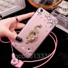 Luxury Bling Diamond Crystal Ring Holder stand Soft Case Cover & neck strap #B