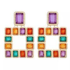 Multi-couleur Carré Goutte Boucles d'oreille en or Zara Déclaration bloggers sold out UK