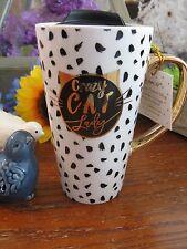 "New Sassy Spots ""Crazy Cat Lady"" Travel Mug Ceramic Coffee Latte Tea 13oz w/Lid"