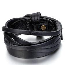 Punk Multi Layer Leather Men Womens Wrap Bracelet Wristband Bangle Cuff Jewelry
