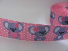 Koala Heart 1 inch Grosgrain Ribbon Pink