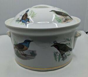 Lourioux Le Faune Covered Casserole Dish Fire Proof Porcelain France Wild Birds