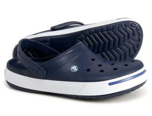 Crocs CrocBand II Navy Blue White Clogs Mens Size 10 / Womens Size 12 11989-42T