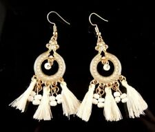 Bohemian Golden Dangle Fashion Statement Earrings with White Tassels # 375