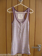 Jack Wills Purple White Stripe Ladies Vest Top Size 8  (Ref P)