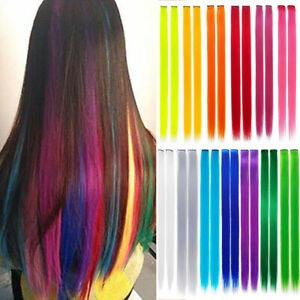 Rainbow Highlighted Straight Long Girl One Chip Hair Extension Synthetic Hair