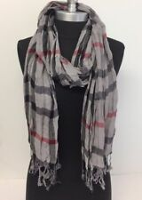 NEW Women Long Soft Fringe Scarf Fashion Crinkle Cotton Blend Wrap Shawl Gray