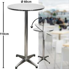 Tabletop Table Foldable Bistro Party Garden Furniture Adjustable Stainless Tray