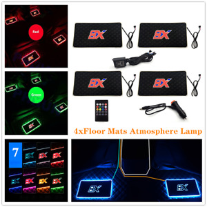 4pcs Car Interior Atmosphere Lamp Floor Mats LED Ambient Light w/Remote 7 Colors