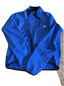 Pearl Izumi Windbreaker Jacket Blue Large Reflective Full Zip Long Sleeve Unisex