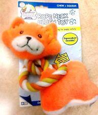 "Rope & Plush Dog Toy - Orange Kitty Cat  6"" Squeaker Pre-School Puppies"