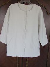 Eileen Fisher Long Jacket-Stucco Linen/Organic Cotton- Bone- Size PM -NWT $238