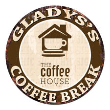 CWCB-0103 GLADYS'S COFFEE BREAK Chic Tin Sign Decor Gift Ideas