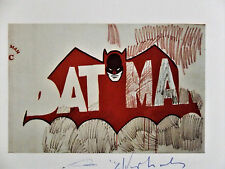 """Andy Warhol, """"BATMAN"""" Hand Signed Print in Blue pen, 1979 with COA"""