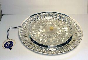 Silver Plated Ikora dish Crystal bowl Jam Fruit sauce butter sweets Cut work