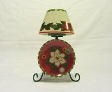 AVON GIFTS CHRISTMAS POINSETTA TEA LIGHT CANDLE HOLDER WITH MATCHING SMALL PLATE