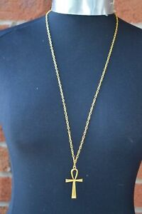 """Gold Colour Egyptian Ankh Cross Charm Pendant 54 x 27mm, 30"""" Long Chain Necklace"""