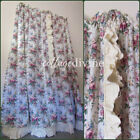 Victorian Cabbage Rose Floral Priscilla Ruffle Vtg Curtain Panels, WIDE Width