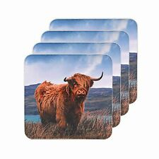 Highland Cow Square Coasters Set of 4 The Leonardo Collection