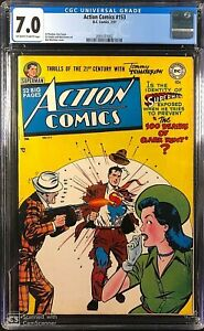 Action Comics #153 CGC 7.0 OW/W ONLY 18 Ever Graded !  GREAT SUPERMAN ISSUE !