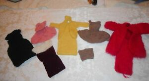Vintage Barbie Lot of Hand Knit and Crocheted Clothing Sweaters Outfits Hat
