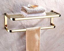 Gold Color Brass Wall Mounted Bathroom Clothes Towel Racks Shelf aba841