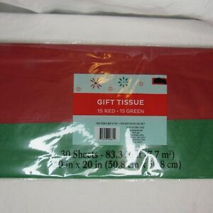 Red and Green Solid Color Christmas Holiday Gift Tissue Paper 30 Sheet Pack