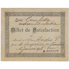 BILLET de SATISFACTION Géométrie André Pierre par l'instituteur A. Domergue 1908