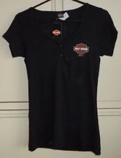 Harley Davidson Women's Black Guilty v-Neck Snap Shirt