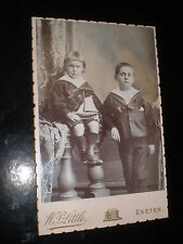 Old cabinet photograph sailor boys toy yacht by Little at Exeter c1890s