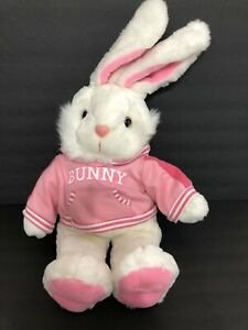 "Dan Dee Plush Bunny Rabbit Easter White Pink with Hoodie Large 29"" L x 17"" W"