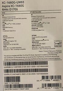 NEW ACER ASPIRE xc xc-1660g-uw93 Intel i5-11400 11th Gen AS Rock H410M-HDV