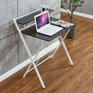 31.5' Folding Table Laptop Desk Portable Writing Study Gaming Table Black Color