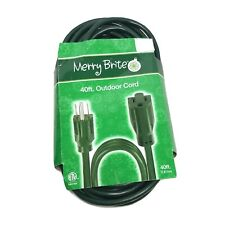 Merry Brite Extension Cord 20 ft 3 Electric Outlet or 40 ft Green Outdoor Cable