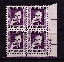 US USA Sc# 1294 MNH FVF PLATE # BLOCK Eugene O'Neill Plarwright Author