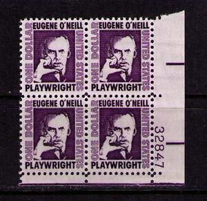 US USA Sc# 1294 MNH FVF PLATE # BLOCK Eugene O'Neill Plarwright Author Untagged