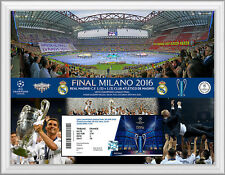 CHAMPIONS LEAGUE FINALE 2016 BIGLIETTO Display Frame REAL MADRID V Atletico Madrid