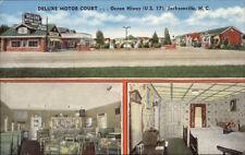 Jacksonville NC DeLuxe Motor Court Linen Postcard