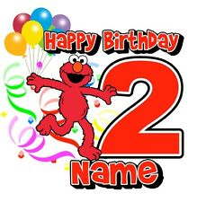 IRON ON TRANSFER PERSONALISED birthday ANY NAME/NUMBER ELMO BALLOONS PARTY 14x14