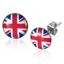 10mm Stainless Steel British United Kingdom Union Jack Flag Stud Earrings  b87