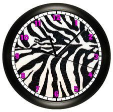 Hot Pink Zebra Wall Clock Animal Print Art Home Bedroom White Black