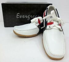 Men's EVERGREEN red white loafers driving boat shoes with laces style 8826