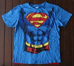 Superman Blue T-Shirt ***WITH RED CAPE*** (Size: Men's Large)